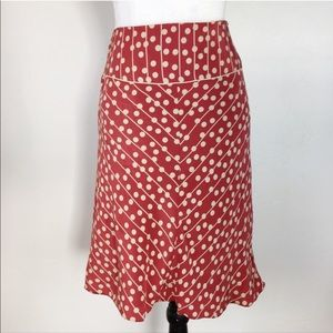 🛑Studio M 100% Silk Dusty Red/Cream Skirt Size LP